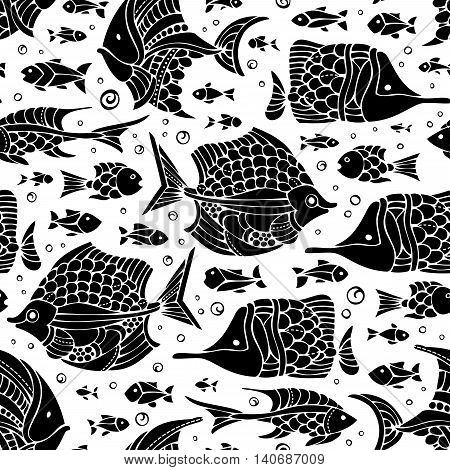 Vector Seamless Fish Silhouettes Pattern.