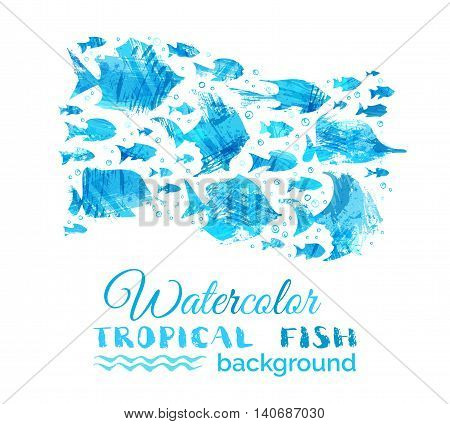 Vector Watercolor Tropical Fish Background.