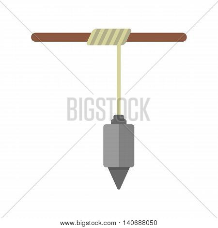construction plummet hanging on rope. concept of symmetry, gravitational, instrument, engineering, constructing, measuring. isolated on white background. flat style modern design vector illustration