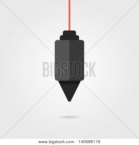 black construction plummet with shadow. concept of symmetry, gravitational, instrument, engineering, constructing, measuring. isolated on grey background. flat style modern design vector illustration