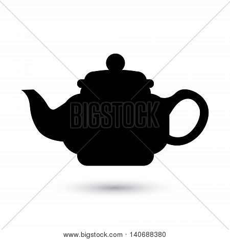 Flat black teapot icon. Vector illustration. Chinese Japanese Asian Oriental