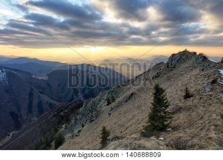 Beautiful mountain landscape at a sunet, Slovakia
