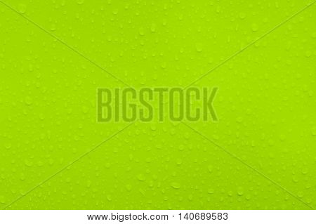 water drops on green metal texture and background.