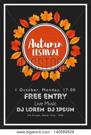 Fall Festival template. Bright colourful autumn leaves on vertical background. Template for holidays, concerts and parties. Autumn theme.
