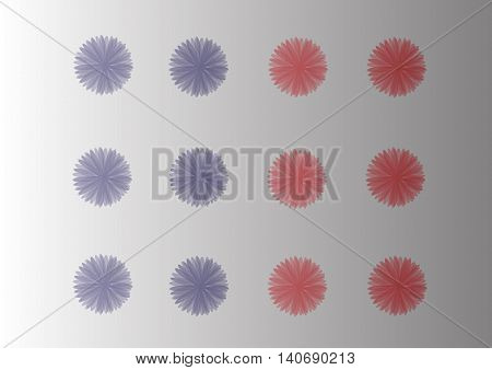 Vector flowers colorful chrysanthemum and Aster petals overlapping relay charming natural beauty of the set.