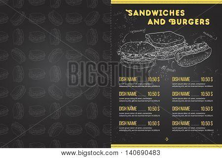 Scetch horisontal menu design on blackboard, pages 2, 3. Vector illustration EPS 10