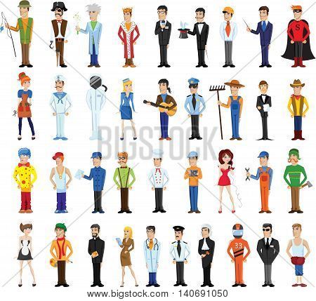 Different cartoon people professions characters set, vector illustration