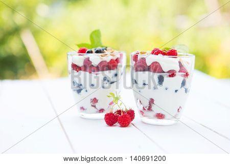 Natural Yogurt With Fresh Berries And Muesli. Healthy Dessert