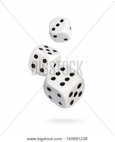 Falling dice, gambling scene, isolated on white background.