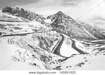 Road Through Snowy Mountains. in China black and white