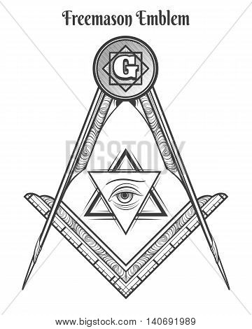 Freemason square and compass, vector freemasonry signs and mason symbols vector tattoo