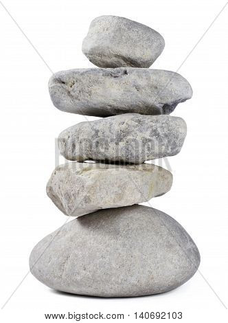 Heap of stones on white. Stack rock or stone stack.
