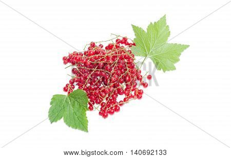 Pile of a fresh redcurrant and leaves on a light background