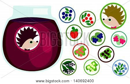 Berries stickers collection. Hedgehog with bow tie, label. Icons of strawberry, raspberry, blackberries, blueberries, cranberry, black, red, white currant, honeysuckle, elderberry. Jar with jelly.