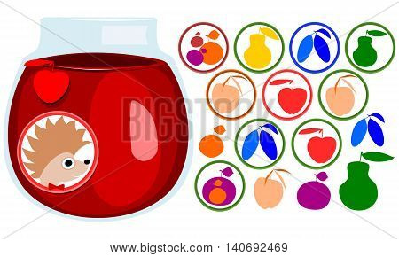 Fruit stickers set. Hedgehog face with bow tie, label. Icons of apple, pear, apricot, plum, mirabelle cherry. Jar with jam.