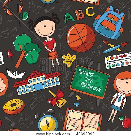 School girls with tools and education objects vector seamless pattern. Teaching kids background.