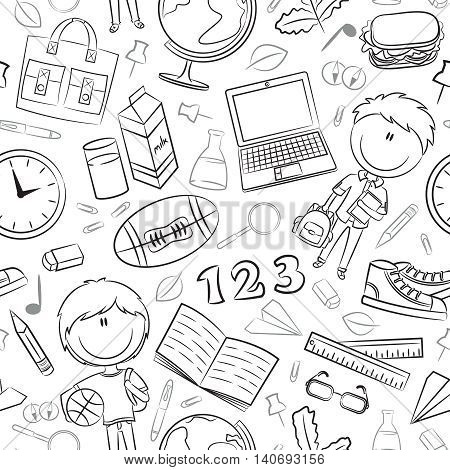 School boys with tools and education objects vector doodle seamless pattern. Teaching kids background.