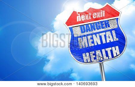 Mental health  sign, 3D rendering, blue street sign