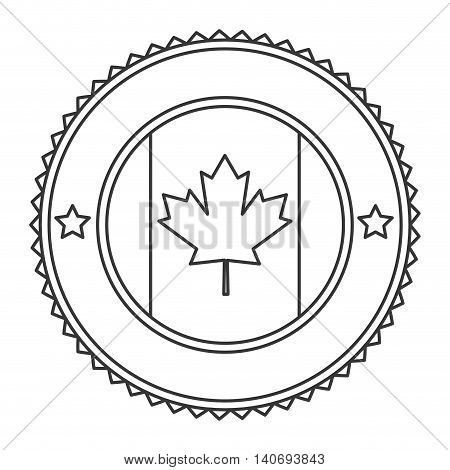 flat design canadian badge icon vector illustration