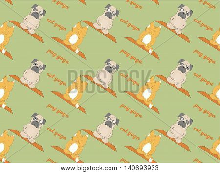 Pugs meditation yoga pattern. Cute dogs. Vector seamless pattern -- Stock Vector #108224158 Pugs and cats meditation yoga pattern. Cute animals. Vector seamless pattern