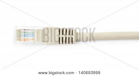 Close-up fragment of an ethernet cable isolated over the white background