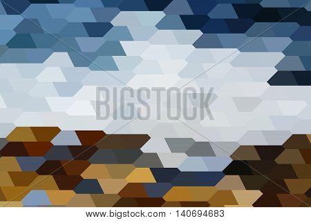 Stylezed landscape of Black Sea shore made of pentagonal