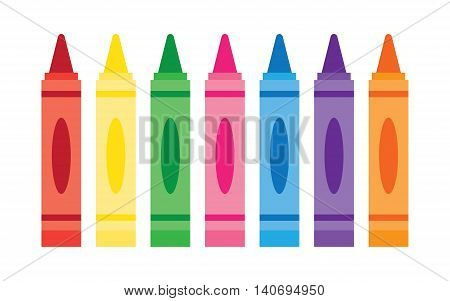 Wax colorful crayons vector set collection isolated