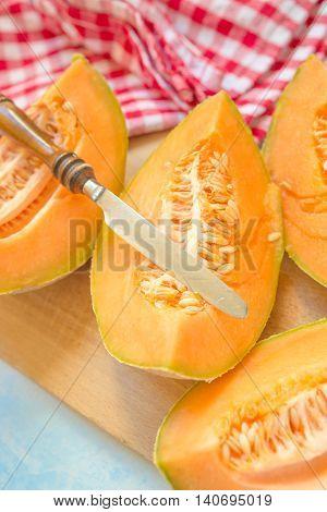 Sweet summer dessert cantaloupe melon or honeydew selective focus