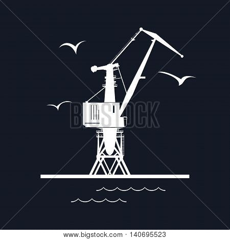 Marine Dockside Crane, Port Cargo Crane Isolated on Black Background, Vector Illustration