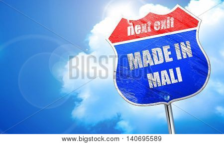 Made in mali, 3D rendering, blue street sign