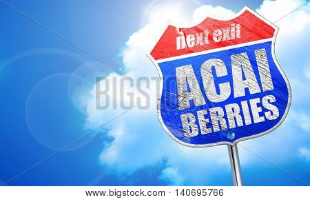acai berries, 3D rendering, blue street sign
