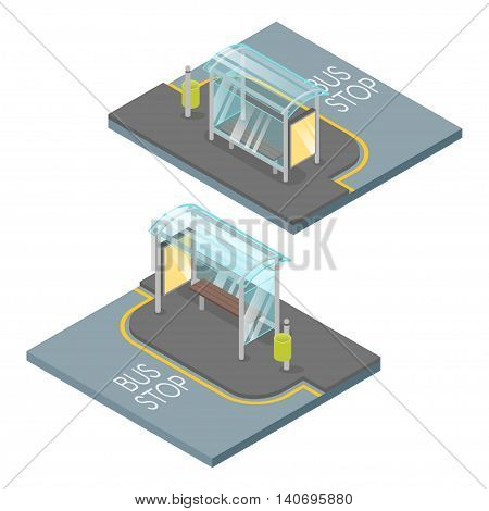 Vector 3d isometric illustration of empty bus stop.