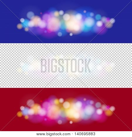 Soft Bright Abstract Bokeh Background , Bright Colored Lights on Purple and Red Backgrounds, Defocused Lights, Lights Isolated, Vector Illustration
