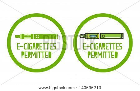 Electronic cigarettes permitted sign set of icons