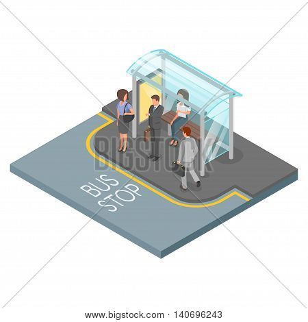 Vector 3d isometric illustration of bus stop. Business people go to work.
