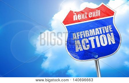 affirmative action, 3D rendering, blue street sign