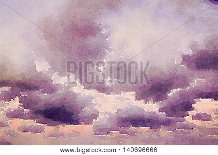 Digital watercolour of white fluffy clouds on purple sky