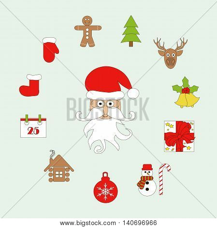Set Christmas icon. Santa Claus, Christmas tree, mitten, boot, snowman, gift, deer, bells, shelter, calendar, toy, Christmas gingerbread, vector illustration
