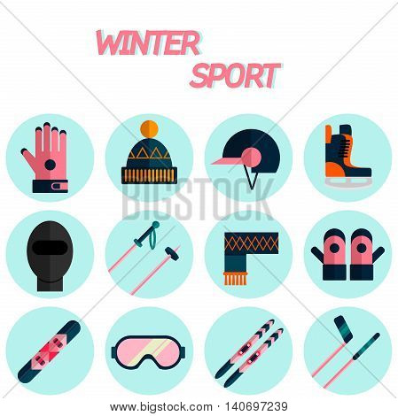 Winter sport flat icon set . Ski, sport, extreme sports, winter games, sport icons. Vector illustration EPS 10