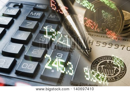Finance, banking concept. Euro coins, us dollar banknote close-up. Abstract image of Financial system with selective focus, toned, double exposure.