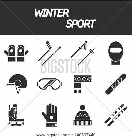 Winter sport icon set . Ski, sport, extreme sports, winter games, sport icons. Vector illustration EPS 10