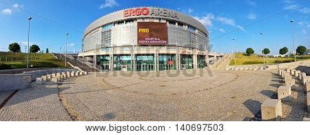 SOPOT, POLAND - JULY 28, 2016: Ergo Arena sports and entertainment hall can host up to 15000 people in Sopot, Poland. Hall is the venue of many international matches and concerts.