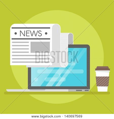 Vector illustration of laptop, coffee and paper. Concept of online news.