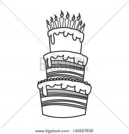 flat design birthday cake icon vector illustration