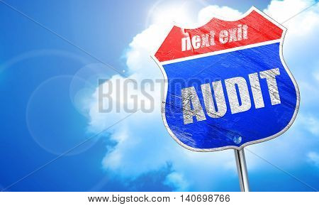 audit, 3D rendering, blue street sign