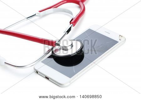 Broken Smartphone With Stethoscope Isolated On A White