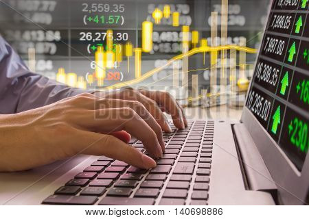 Financial stock market data. Candle stick graph chart of stock market ,stock market data graph chart on LED concept, work for stock market background ,stock market education and stock market analysis background backdrop including stock education or market