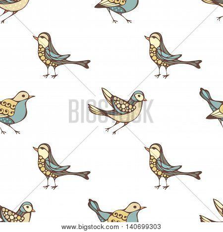 Vector Seamless Pattern Of Various Birds.