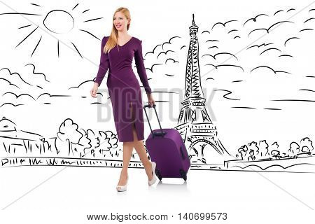 Young businesswoman on travel to Paris