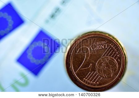 Different Close up EURO Bank note and currency